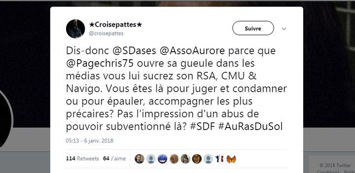 Tweet de @croisepattes le 4 janvier 2018. (CAPTURE D'ÉCRAN TWITTER)