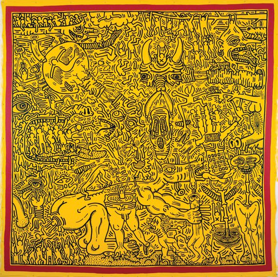 """Keith Haring, """"Untitled"""", 23 septembre 1986. Collection particulière. Acrylique et huile sur toile de bâche. 243,8 x 243,8 cm. (KEITH HARING FOUNDATION)"""