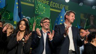 Le parti EELV tient un meeting à l'approche des élections européennes, le 10 avril 2019 à Villeurbanne (Rhône). (NICOLAS LIPONNE / NURPHOTO / AFP)