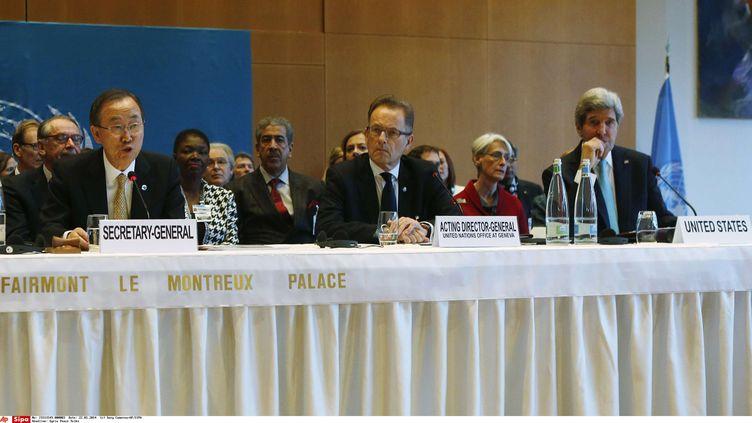 Le secrétaire général de l'ONU Ban Ki Moon prend la parole le 22 janvier 2014 au début de la conférence sur la paix en Syrie organisée à Montreux (Suisse). (GARY CAMERON / AP / SIPA)