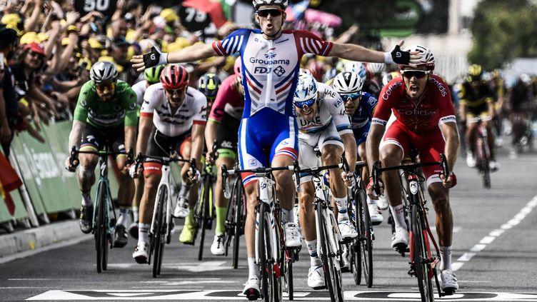 Le cycliste français Arnaud Démare, à l'arrivée de la 18e étape du Tour de France, à Pau, le 26 juillet 2018. (PHILIPPE LOPEZ / AFP)