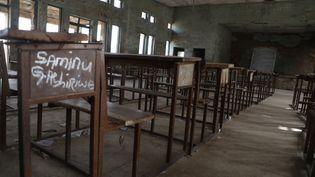 Une salle de classe de l'établissement où 42 personnes dont 27 enfants avaient été enlevées le 17 février 2021, à Kagara (Nigeria). (KOLA SULAIMON / AFP)