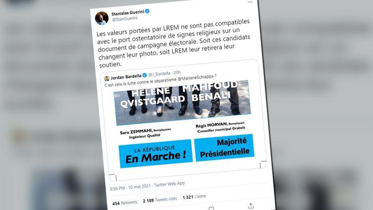 Interpellé parJordan Bardella sur une affiche des départementales où figure une candidate LREM voilée,Stanislas Guérini a menacé de retirer l'investiture à la liste en question (CAPTURE ECRAN / TWEET)