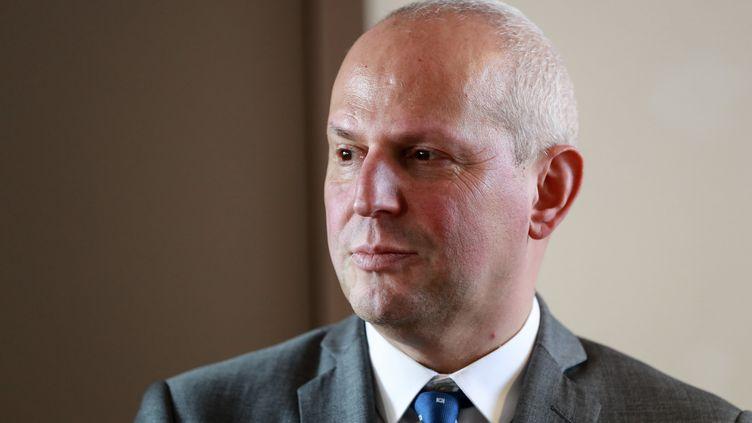 Le directeur général de la Santé, Jérôme Salomon, lors d'une conférence de presse, à Paris, le 18 février 2020. (LUDOVIC MARIN / AFP)