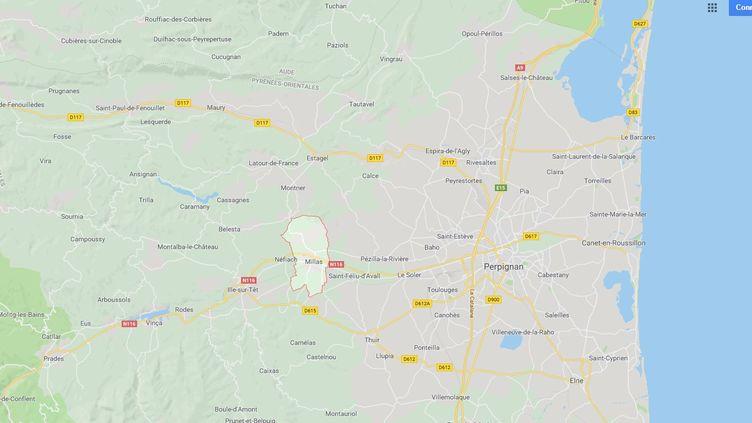 La ville de Millas est située à une vingtaine de kilomètres à l'ouest de Perpignan (capture d'écran Google Maps) (RADIO FRANCE)