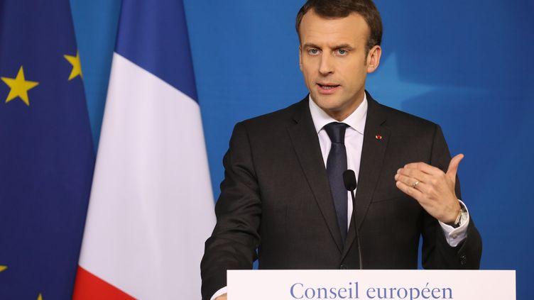 Le chef de l'Etat français, Emmanuel Macron, à Bruxelles (Belgique), le 23 mars 2018. (LUDOVIC MARIN / AFP)