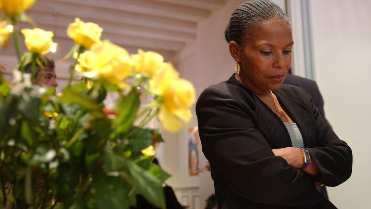 Christiane Taubira lors de ses vœux à la presse le 16 janvier 2002, à Paris. (LUDOVIC / REA)