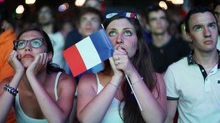 """Des supporteurs de l'équipe de France regardent le match France-Roumanie, dans la """"fan zone"""" de Nice (Alpes-Maritimes), jeudi 23 juin 2016. (VALERY HACHE / AFP)"""