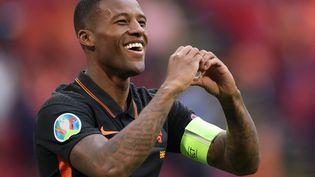 Wijnaldum a marqué le deuxième but des Pays-Bas face à la Macédoine du Nord. (KENZO TRIBOUILLARD / POOL / AFP)