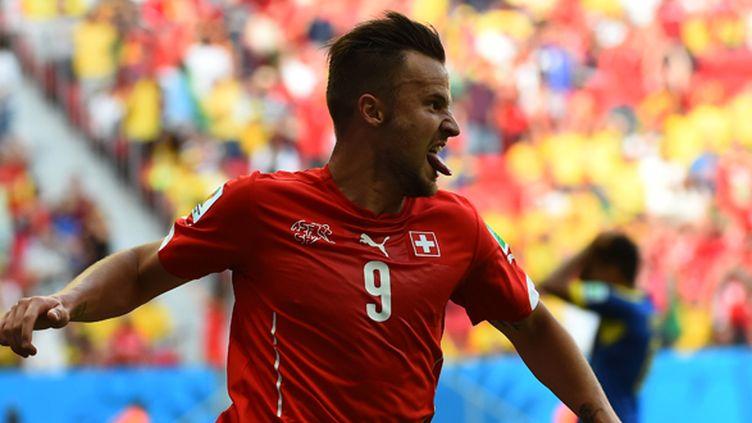 La joie de l'attaquant suisse Haris Seferovic (ANNE-CHRISTINE POUJOULAT / AFP)