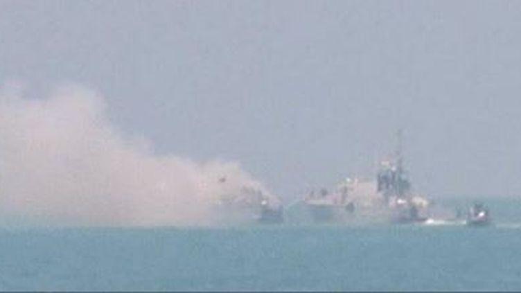 Un navire égyptien a été frappé par un missile au large de la péninsule du Sinaï. (CAPTURE D'ÉCRAN FRANCE 2)