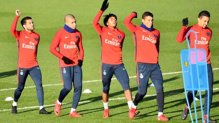 Les joueurs du PSG à l'entraînement (CHRISTOPHE SIMON / AFP)
