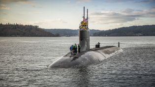 Le sous-marinaméricain USS Connecticut, un sous-marin à propulsion nucléaire de la classe Seawolf,patrouille en mer de Chine méridionale. (EYEPRESS NEWS / AFP)