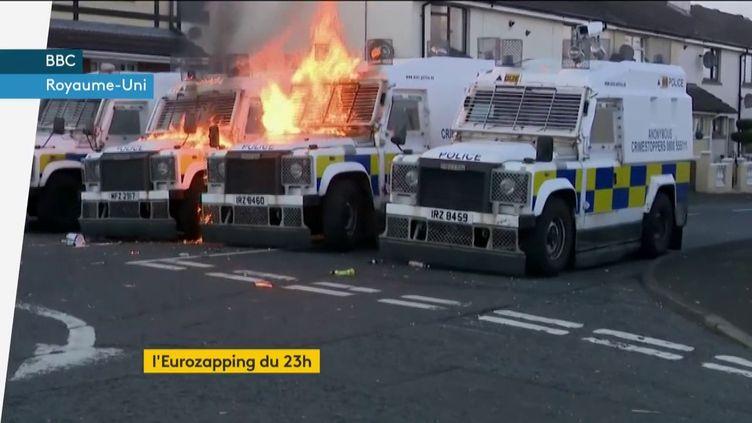 La nouvelle IRA a incendié des camions de police (FRANCEINFO)