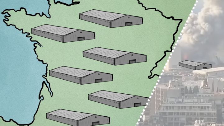 Certains sites en France stockent jusqu'à 68 000 tonnes de nitrate d'ammonium, soit 25 fois Beyrouth. (Nicolas Dewit, Radio France)
