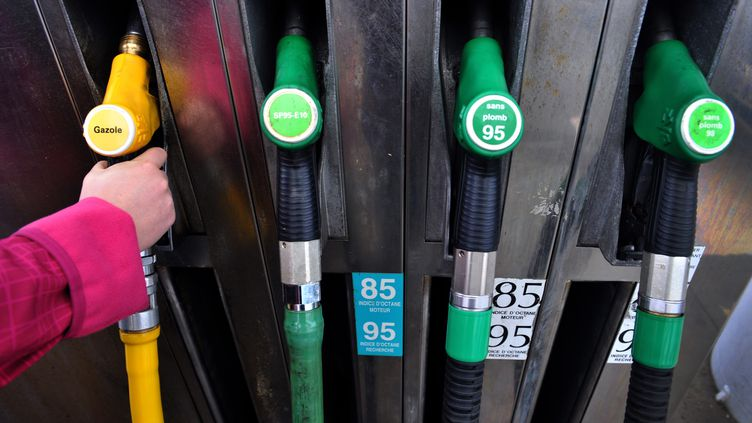 Un client fait le plein de diesel, le 25 janvier 2012, à Pont-L'Abbé (Finistère). La Cour des comptes dénonce l'écart de taxation entre l'essence et le gazole. (FRED TANNEAU / AFP)
