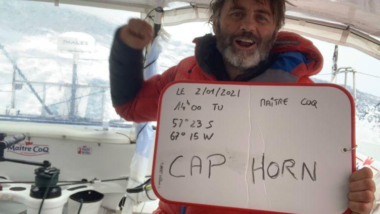 Le skipper Yannick Bestaven a été le premier à franchir le cap Horn, samedi 2 janvier. (YANNICK BESTAVEN / MAITRE COQ)