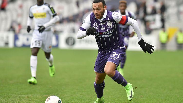 Martin Braithwaite a participé au festival offensif toulousain contre Angers (REMY GABALDA / AFP)