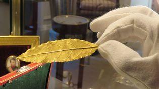 La feuille d'or vendue aux enchères, issue de la couronne impériale de Napoléon, photographiée le 14 novembre à Fontainebleau  (Sylvain Deleuze / PhotoPQR / Le Parisien / MaxPPP)