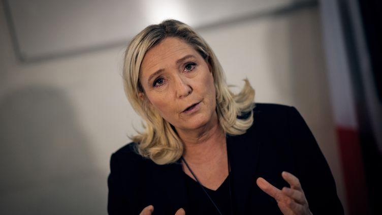 Marine Le Pen, présidente du Rassemblement national (RN), lors d'une conférence de presse le 23 janvier 2020. (LOIC VENANCE / AFP)