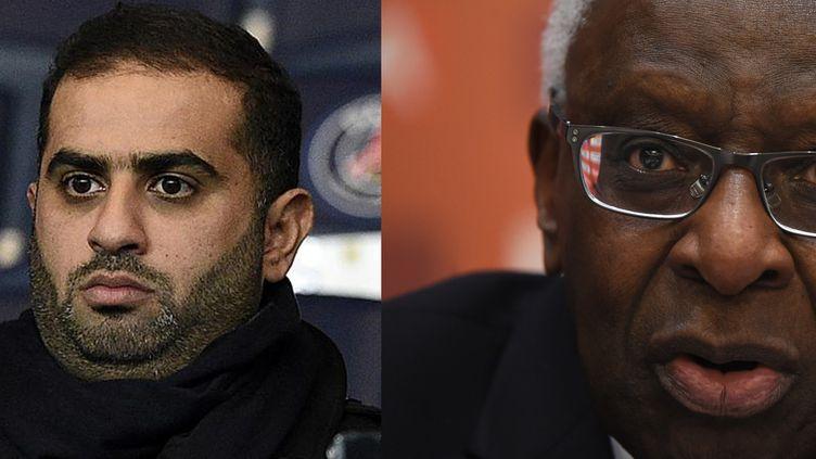 À gauche,Youssef Al Obaidly, président de BeIn Sport au Parc des Princes le 8 décembre 2015. À droite, Lamine Diack, ex-patron de l'athlétisme mondial, le 20 août 2015. ((FRANCK FIFE et GREG BAKER / AFP))