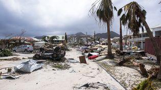 L'île de Saint-Martina été dévastée par l'ouragan Irma, le 7 septembre 2017. (LIONEL CHAMOISEAU / AFP)