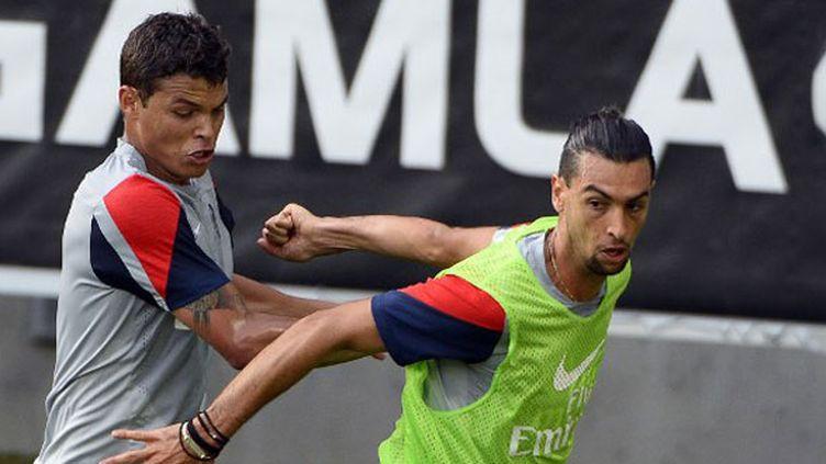Thiago Silva et Javier Pastore, les deux joueurs du PSG