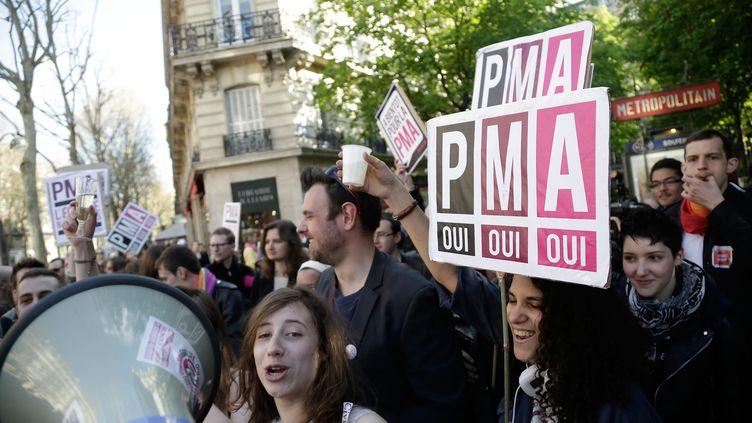Des militants du collectif Oui Oui Oui manifestent pour l'ouverture de la PMA à toutes, à Paris, le 23 avril 2013. (MAXPPP)