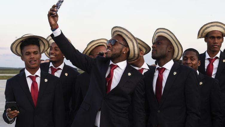 L'équipe de football du Panama à son arrivée à l'aéroport de Saransk (Russie), le 7 juin 2018. (JUAN BARRETO / AFP)
