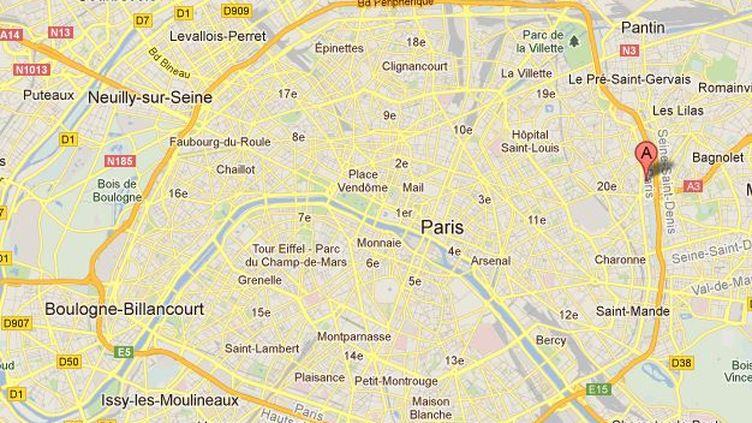 L'incendie s'est déclaré dans le 20e arrondissement de Paris (signalé par le A). (Capture d'écran Google Maps / FTVi)
