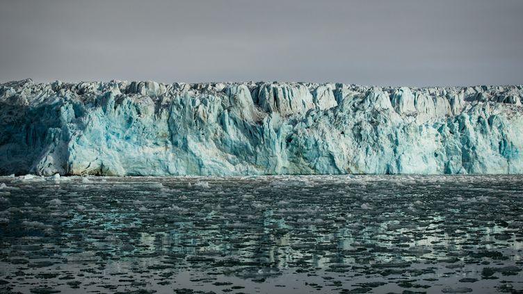Le glacier de Lilliehook, sur l'île Spitzberg, dans l'archipel du Svalbard (Norvège), en 2017. (MERIL DAREES / MANON MOULIS / BIOSPHOTO / AFP)