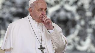Le pape François au Vatican, le 8 mai 2019. (FILIPPO MONTEFORTE / AFP)