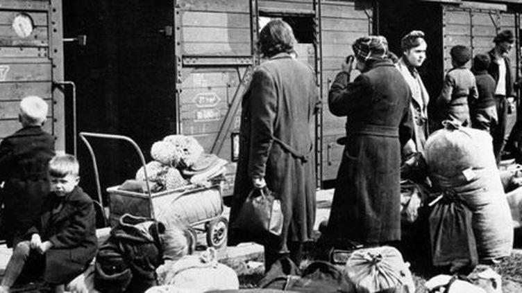 Des réfugiés, venus d'Allemagne orientale, attendent leur transfert vers l'est du pays en 1945. Le lieu où a été pris la photo n'est pas connu. (DPA - DPA - AFP)