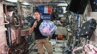 Thomas Pesquet lors d'une conférence de presse à bord de la Station spatiale internationale, mercredi 23 novembre 2016. (ESA)