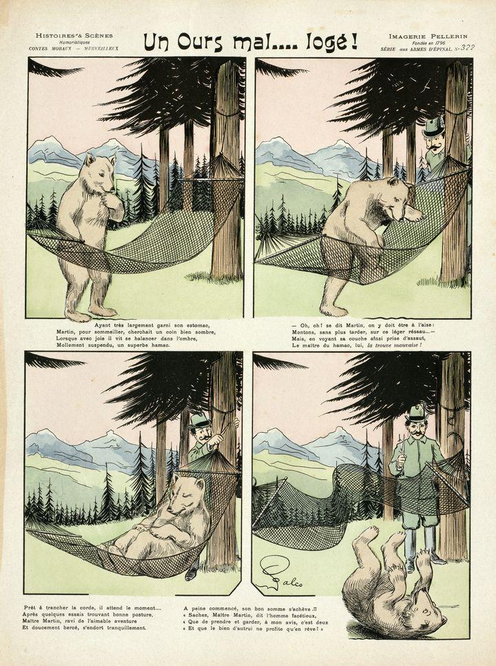 """""""Un Ours mal… logé"""", 1901,Falco (dessinateur), Pellerin, Épinal (éditeur),Lithographie coloriée au pochoir, Coll. musée de l'Image, Épinal (Musée de l'Image - Ville d'Épinal - cliché H. Rouyer)"""