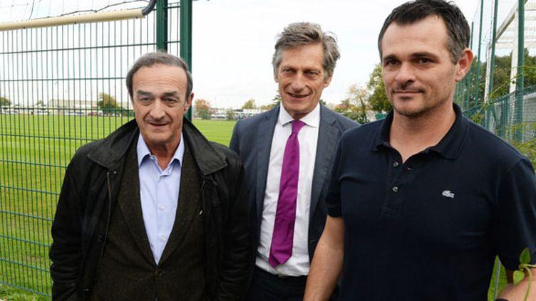 Jean-Louis Triaud, le président des Girondins, Nicolas de Tavernost, l'actionnaire principal du club et l'entraîneur Willy Sagnol
