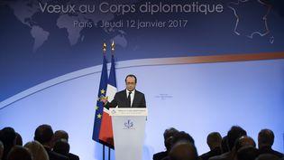 François Hollande présente ses vœuxau corpsdiplomatique à l'Elysée, le 12 janvier 2017 (IAN LANGSDON / EPA / AFP)