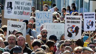 Manifestation à Lannion (Côte d'Armor), le 11 septembre 2016, contre l'extraction de sables dans la baie de Lannion. (FRED TANNEAU / AFP)