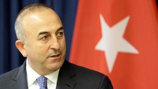 Le ministère des Affaires étrangères turcMevlut Cavusoglu, lors d'une conférence de presse à Vilnius, en Lituanie, le 3 avril 2015. (PETRAS MALUKAS / AFP)