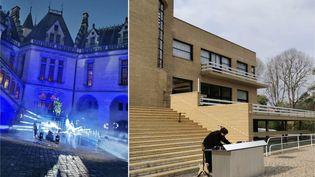 À gauche, les dernières installations avant l'enregistrement du concert de Mat Bastard au château de Pierrefonds. À gauche, Kazy Lambist quelques minutes avant d'enregistrer son set à la Villa Cavrois. (FTV)