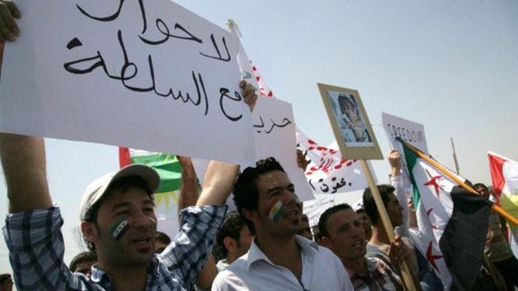 Manifestants kurdes contre le régime syrien à Arbil, le 27 juin 2011 (AFP/SAFIR HAMED)