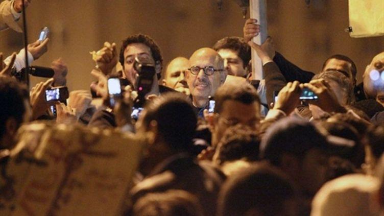 Mohammed ElBaradei au milieu des manifestants sur la place Tahrir dans le centre du Caire le 30 janvier 2011 (AFP - KHALED DESOUKI)