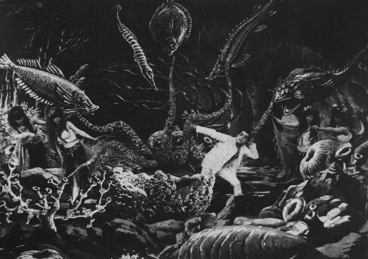 """Image tirée du film """"Vingt Mille Lieues sous les mers"""" (1907) de Georges Méliès. (ARCHIVES DU 7EME ART / AFP)"""