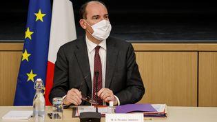 Le Premier ministre Jean Castex lors de la réunion avec les représentants des principales forces politiques françaises, le 27 octobre 2020. (LUDOVIC MARIN / POOL)