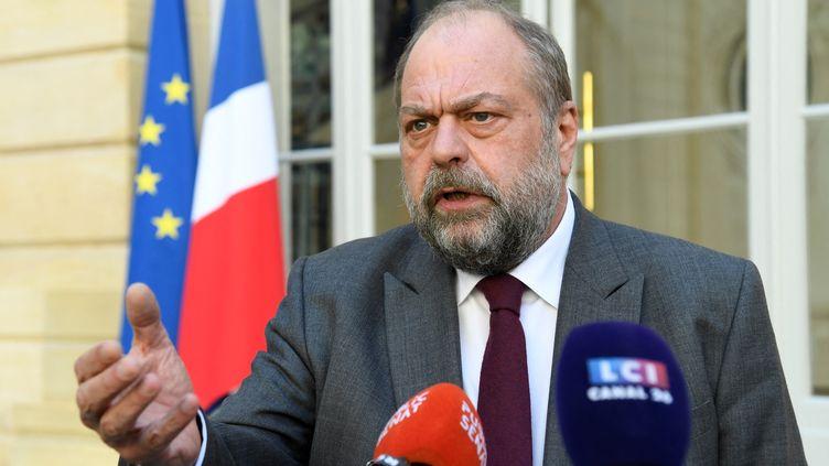 Le ministre de la Justice, Eric Dupond-Moretti, lors d'une conférence de presse à son ministère, à Paris, le 1er mars 2021. (BERTRAND GUAY / AFP)