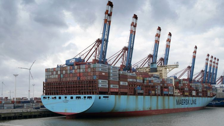 """Le porte-conteneurs """"Elly Maersk"""" en cours de déchargement à Hambourg, le 17 février 2020. (MALTE OSSOWSKI/SVEN SIMON / SVEN SIMON)"""