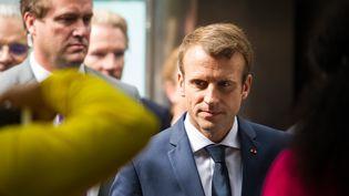Emmanuel Macron avant son arrivée à l'Assemblée générale de l'ONU à New York, mardi 19 septembre 2017. (COREY SIPKIN / AFP)