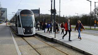 Un tramway au Luxembourg, le 29 février 2020. (JEAN-CHRISTOPHE VERHAEGEN / AFP)