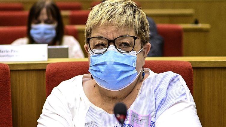 L'épidémiologiste Dominique Costagliola devant la commission d'enquête du Sénat sur la gestion de la crise sanitaire, le 15 septembre 2020. (CHRISTOPHE ARCHAMBAULT / AFP)