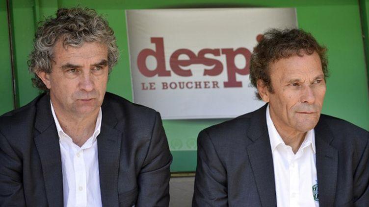 Dominique Rocheteau et Roland Romeyer ravis de voir les Verts retrouver la Coupe d'Europe (PHILIPPE MERLE / AFP)